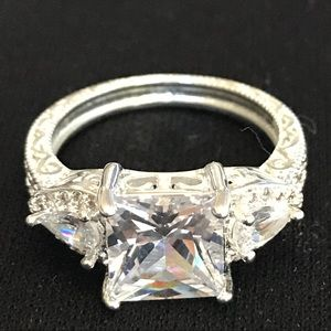 Jewelry - .925 Sterling Silver White Sapphire Ring